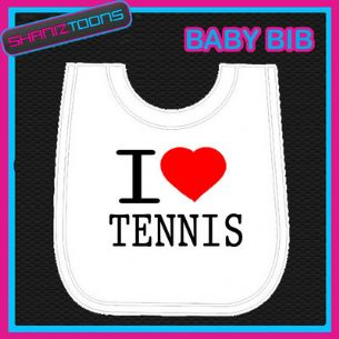 I LOVE HEART TENNIS WHITE BABY BIB EMBROIDERED - 160885432051
